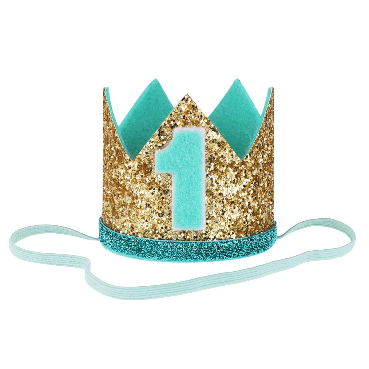 CHICTRY Baby 1st/2nd Birthday Hat Sparkly Prince Party Crown Tiara Headbands Photography Props Gold&Mint One Size