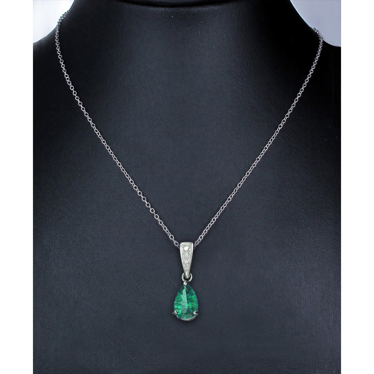 Sterling Silver Green Topaz Pendant 1.50 CT With 18 Inch Chain