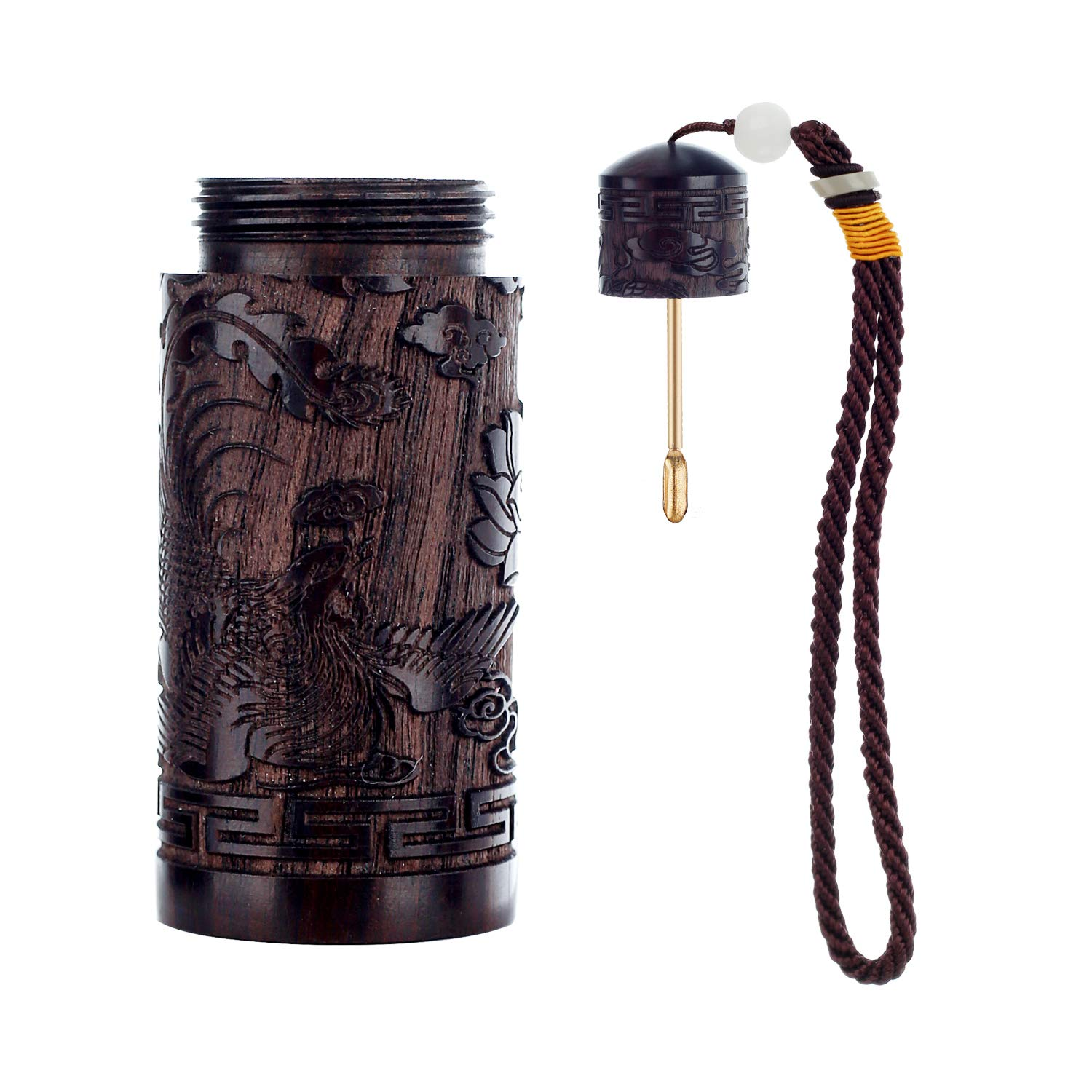 Dragon Snuff Bullets Wooden Portable with Metal Spoon Snorting Snorter Bullet in Bag