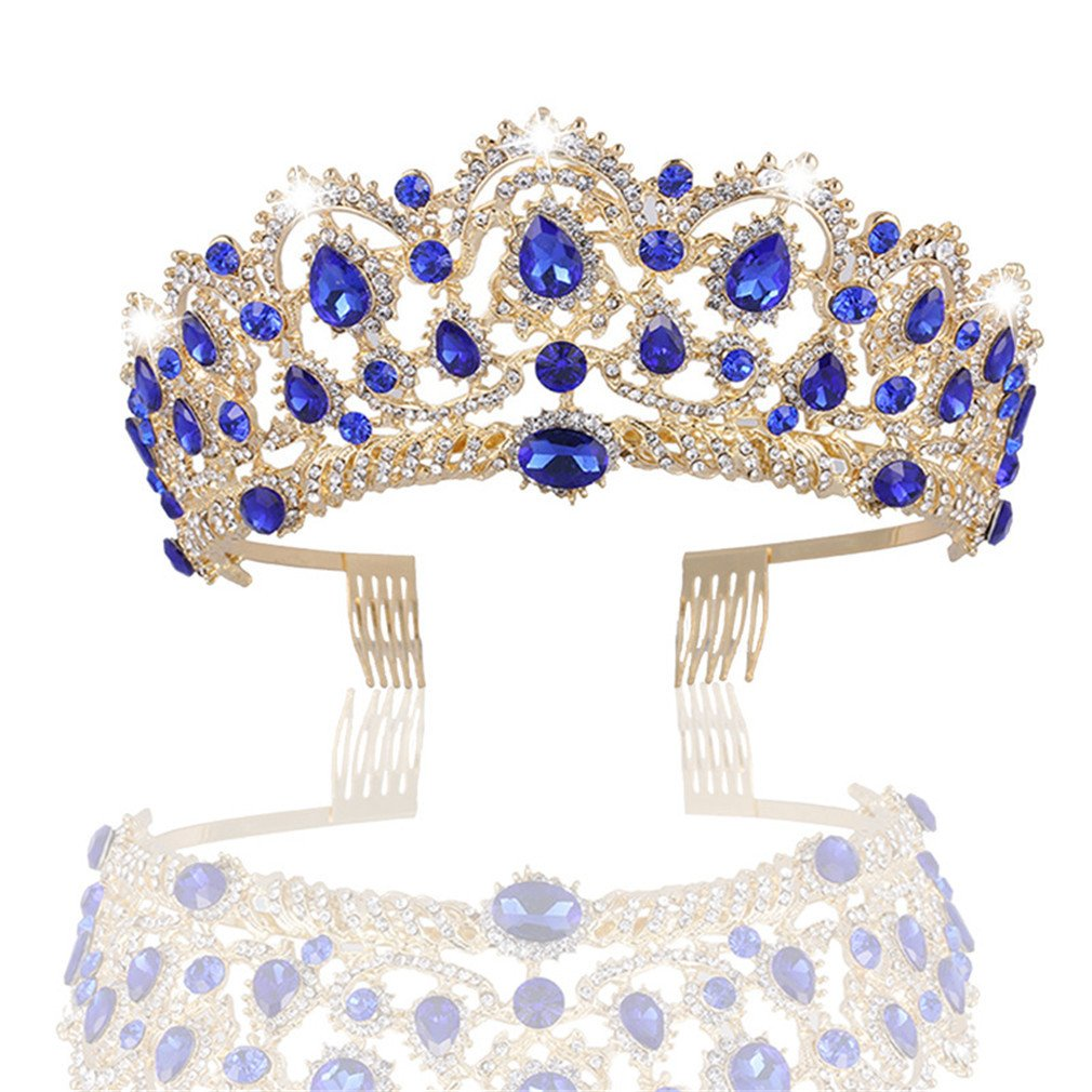 MACOIOR Wedding Tiara Crystal Rhinestones Tiara Crown with Comb Pageant Princess Crown (Blue)