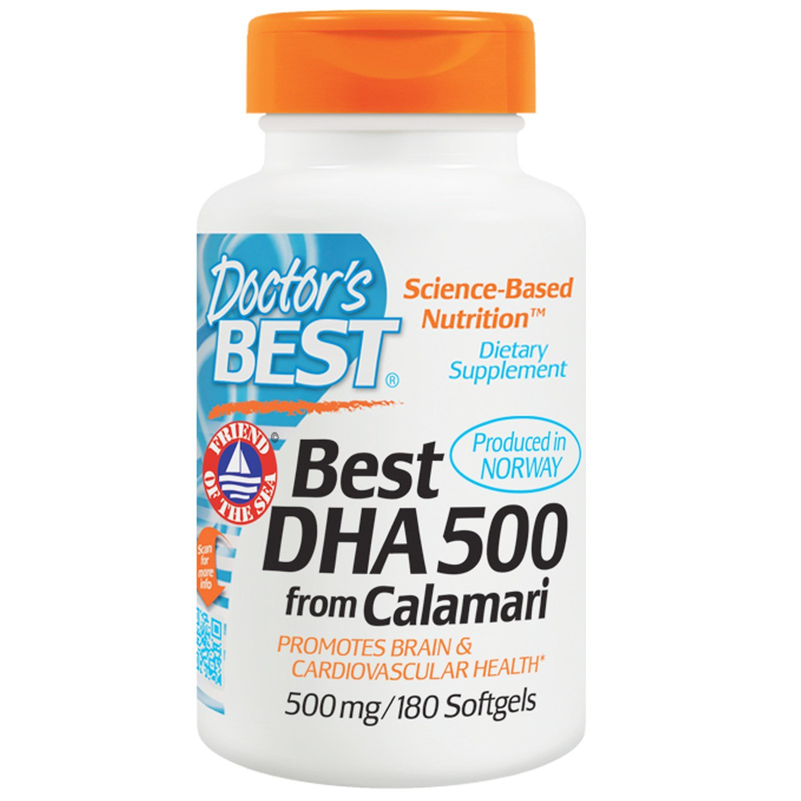 Doctor's Best, Best DHA 500, from Calamari, 500 mg, 180 Softgels - 2pc