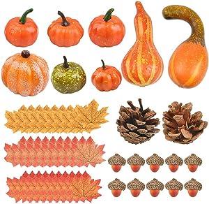 ATPWONZ Assorted Artificial Pumpkins Home Decoration Set, Included 50 Pieces Artificial Harvest Decoration - Pumpkins, Maple Leaves, Acorns, Pinecones for Thanksgiving Autumn Halloween Festival Decor