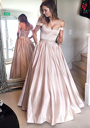Off Shoulder Long Prom Dresses Beaded 2018 Sexy V Neckline Floor Length Formal Gowns Evening Wear at Amazon Womens Clothing store: