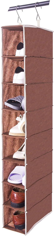 Amelitory 8 Shelf Hanging Shoe Shelves Organizer Shoe Holder for Closet Fabric,Coffee