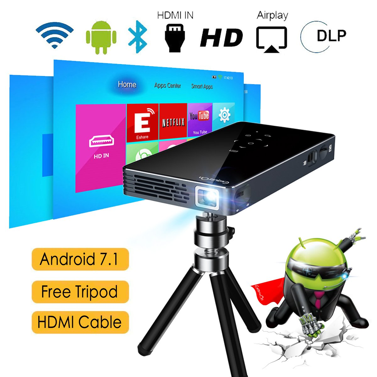Proyector Android 7.1 DLP Proyector ExquizOn P8I Video 1080P ...