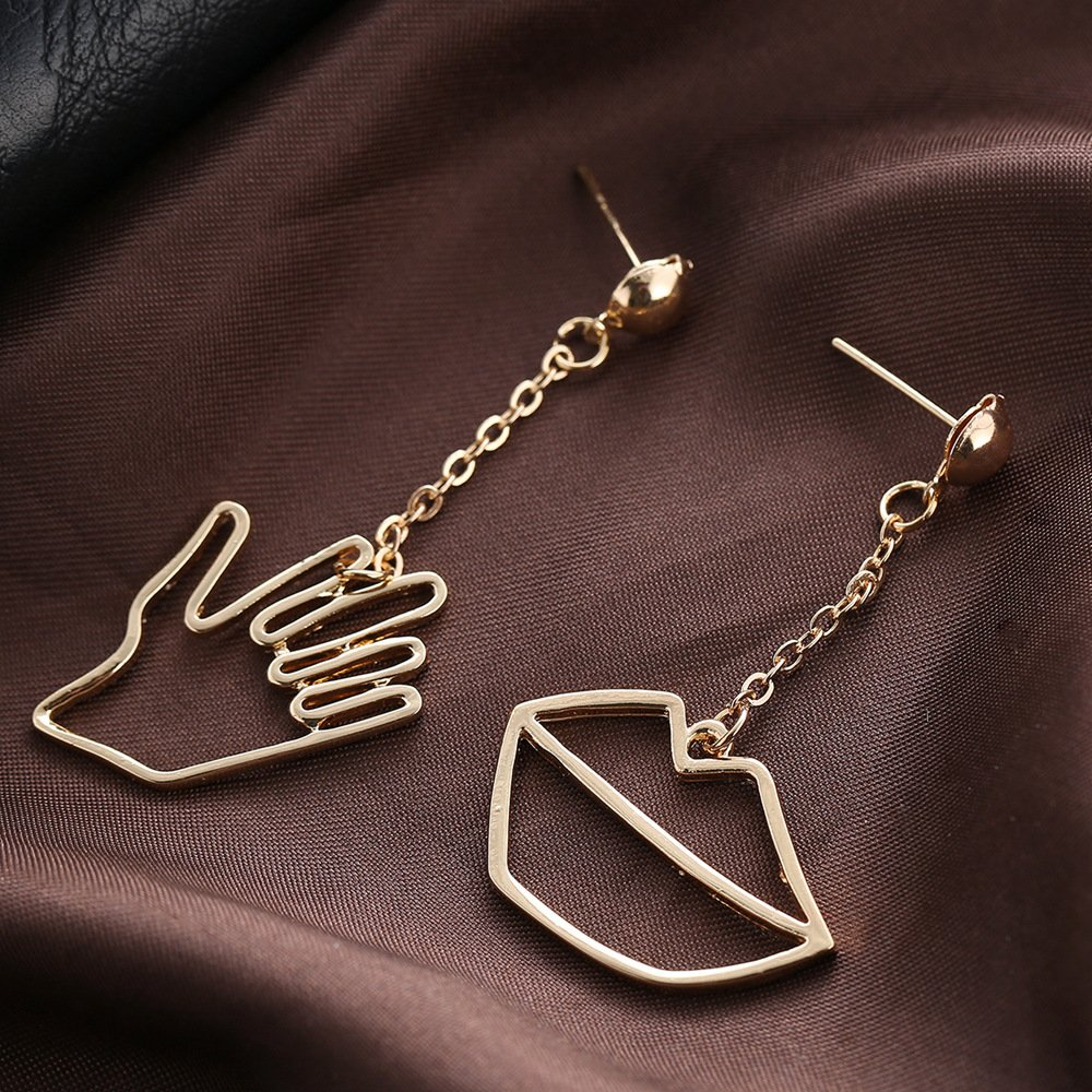 CHOA Hand-mouth Asymmetrucal Earrings-Exaggerated Funny Earrings For Young Girls