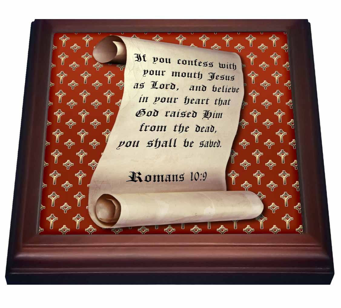 3dRose trv_165732_1 Romans 10 Verse 9 on a Scroll and a Gold Heart Cross on Red Background Trivet with Tile, 8 by 8''