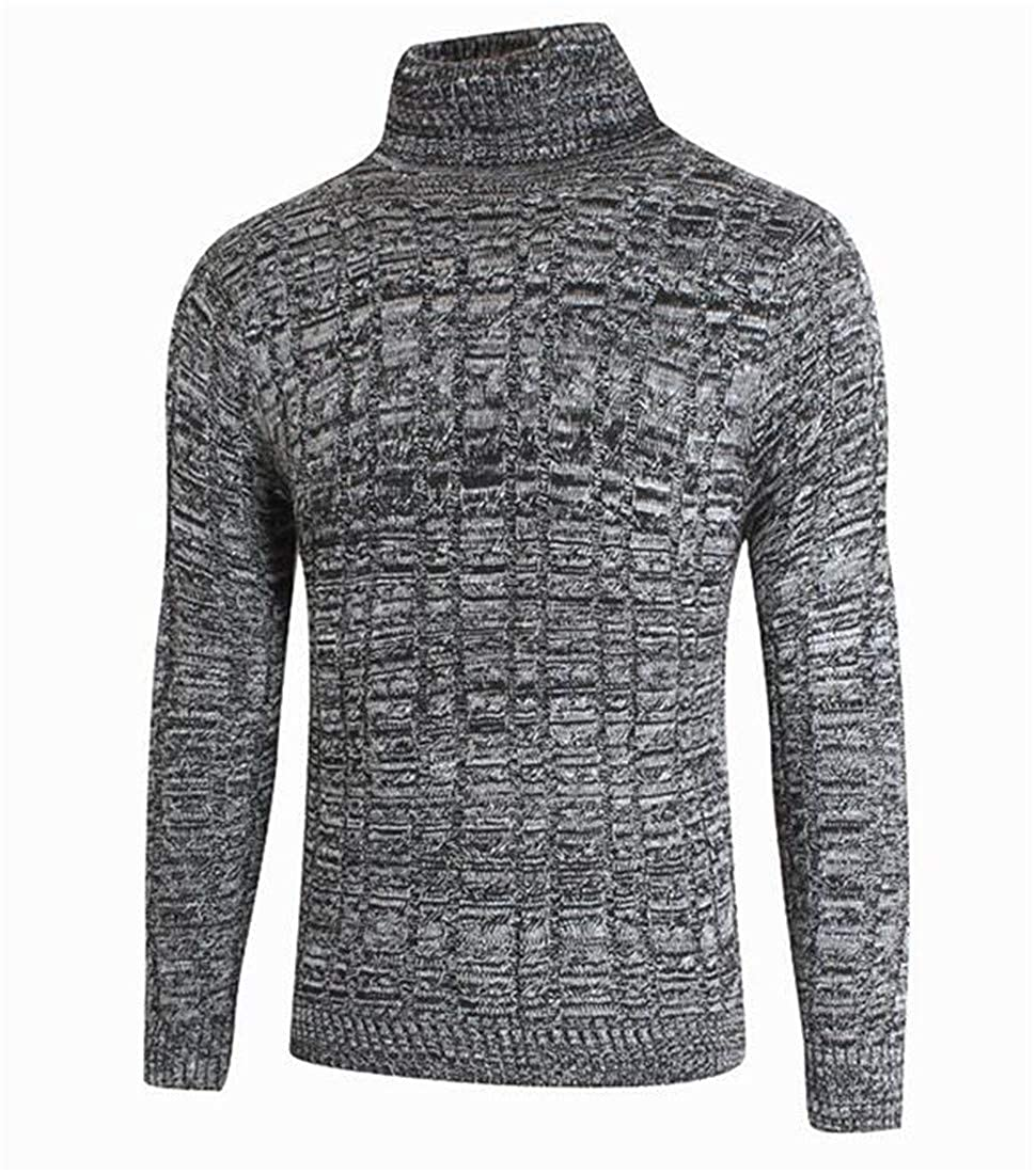 Cromoncent Men High Collar Solid Color Cable Knitteed Pullover Jumper Sweaters