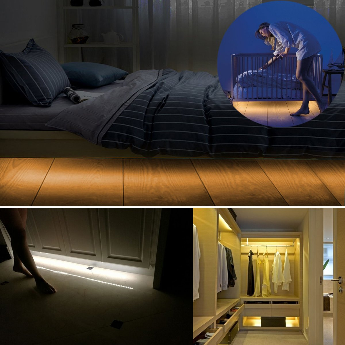 under bed led lighting. fine under amazoncom  battery powered 15m motion activated sensor under bed night  lights warm white led timer strip light for kids bedroom closet  throughout led lighting