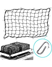"3'x5' Heavy Duty Trailer Truck Bed Cargo Net with 16 Aluminum Carabiners Hooks, Stretches to 5'x8', 1/5"" Dia Latex Bungee Cords, Tightly Woven 4""x4"" Mesh"