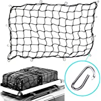 """3'x5' Bungee Cargo Net Heavy Duty Truck Bed Net Stretches to 5'x8' Bungee Cord Tie-Down Net For Rooftop Cargo Carrier with 12 Hooks Small 4""""x4"""" D Clip Carabiners Mesh Large Loads Tighter"""