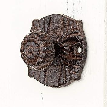 Türknauf Ahorn aus Gusseisen Griff für Gartentür schwarz feststehend