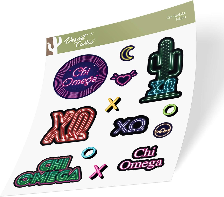 Chi Omega Sticker Decal Laptop Water Bottle Car (Neon Sign Sheet)