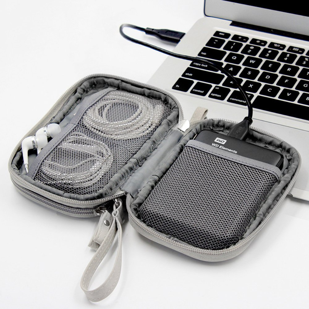 Honeystore Double Layer Gadget Organizer Universal Travel Gear Electronics Accessories Bag Electronics Carrying Case for USB Cable, Flash Drive, Hard Disk, Earphone, SD Card, Power Bank and More Blue by Honeystore (Image #6)