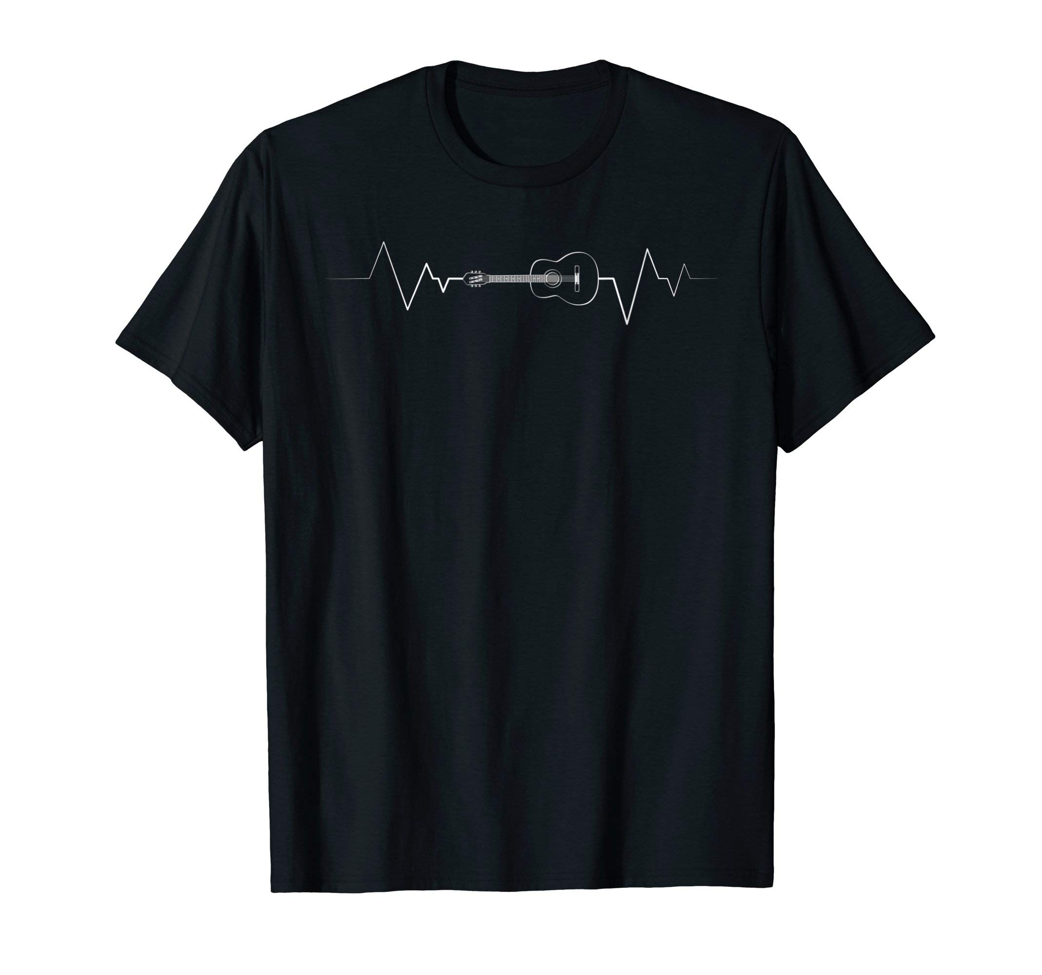 Acoustic Guitar Heartbeat Shirt - Guitar Musician T-Shirt by Music Lovers Funky Frases
