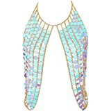 DOTASI Womens Sexy Halter Backless Tank Top Bra Body Chain Necklace Tassels Party