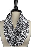 Women's Greek Key Pattern Infinity Scarf with Zipper Pocket - Pop Fashion