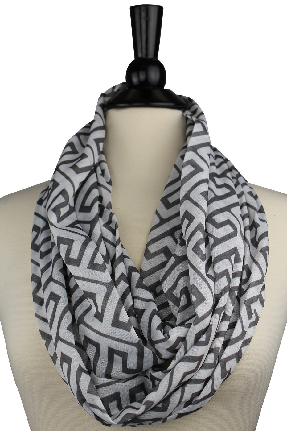 Women's Greek Key Pattern Infinity Scarf with Zipper Pocket - Pop Fashion Cyber-Monday-Sale-2017 Holiday-Deals Infinity Scarves (Navy) PFYQ1154-NV