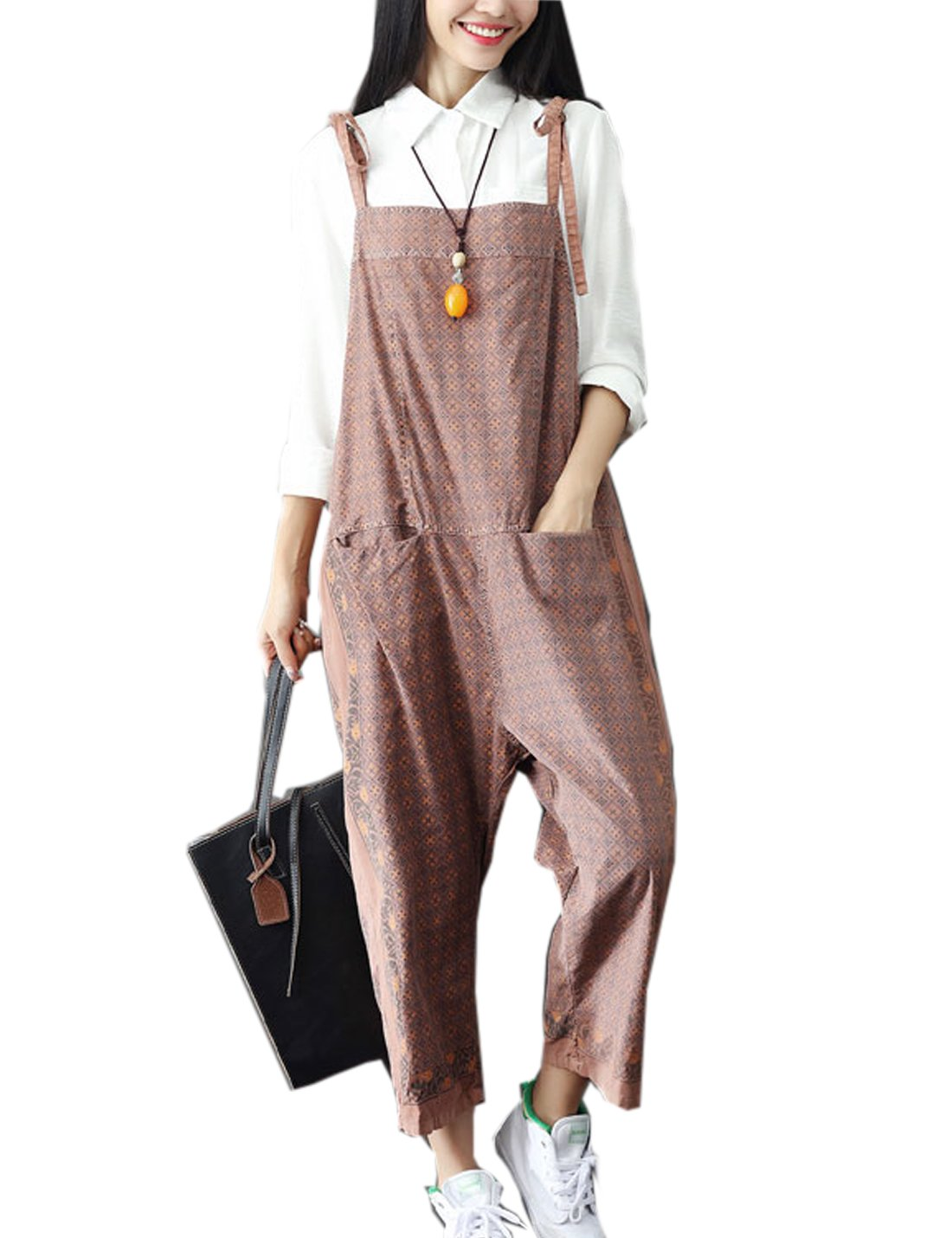 Flygo Women's Cotton Casual Printed Baggy Bib Overalls Harem Pants Jumpsuit Rompers (One Size, Style 2 Coffee)