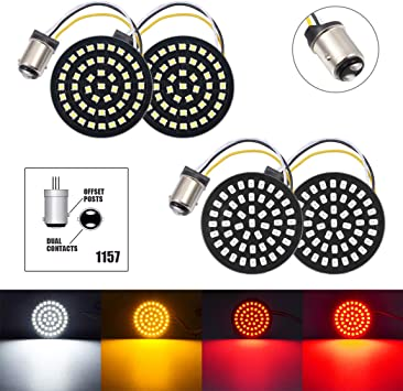 PBYMT 1157 LED SMD Front Rear Turn Signal Light Bulb 2 Bullet Running Brake Tail Light with Smoke Lens Cover Compatible for Harley Dyna Touring Road King Electra Street Glide 1986-2020