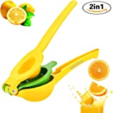 2-in-1 Lemon, Lime, Small Orange Squeezer Juicer for Natural Delicious Drinks, Meats, Salads from Lusciouz. Durable Double Bowl For Variety of Size Fruits. Rugged Metal Construction. Stylish Colorful