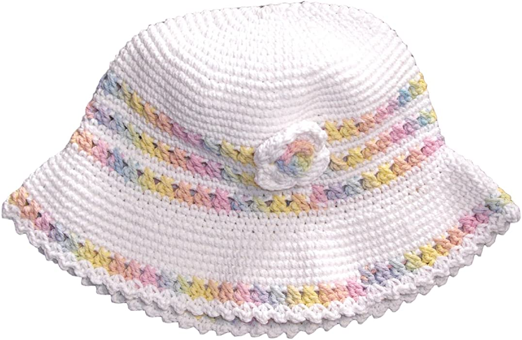 b1a9806f1d4 Amazon.com  snuggleheads Girls  Hand-Crocheted Rainbow Blossom Bucket Hat 2-4  Year White  Clothing