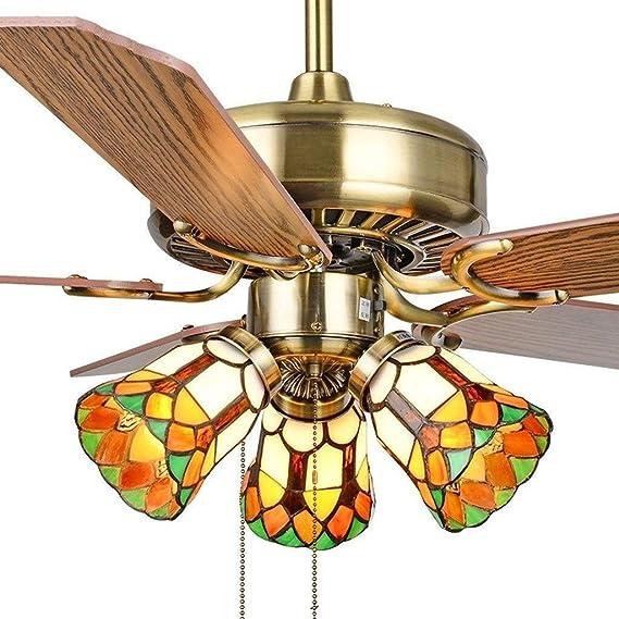 RCLD Ventiladores de Techo con lámpara Dormitorio Infantil Colgando Ventilador Familiar Interruptor de extracción y Apagado Hierro Arte Madera (Color : Gold-85 * 45cm): Amazon.es: Hogar