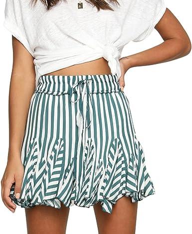 Verano Falda para Mujeres - Moda Cintura Alta Swing Skirt a Rayas ...