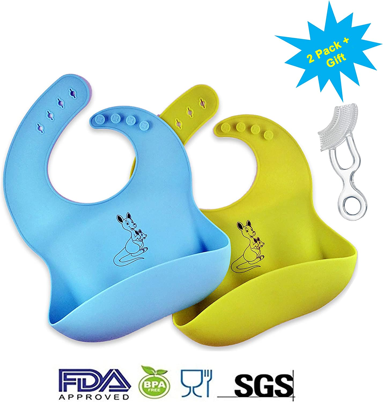 mordedor para cepillo de dientes sin BPA 2 baberos de silicona suave impermeables para beb/é color amarillo//azul