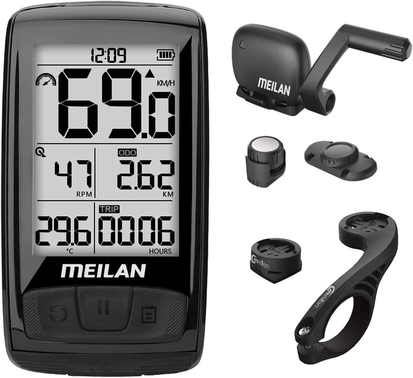 MEILAN M4 Wireless Bike Computer, IPX5 Waterproof Cycling Computer with 2.5 Inch Backlight LCD, ANT+ BLE4.0 Bicycle Computer Bicycle Speedometer and Odometer with Cadence/Speed Sensor : Sports & Outdoors