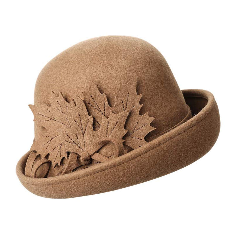 Autumn Winter Women Floral Flanging100/% Wool Female Felt Fedoras Hats Dome Elegant Banquet Hat