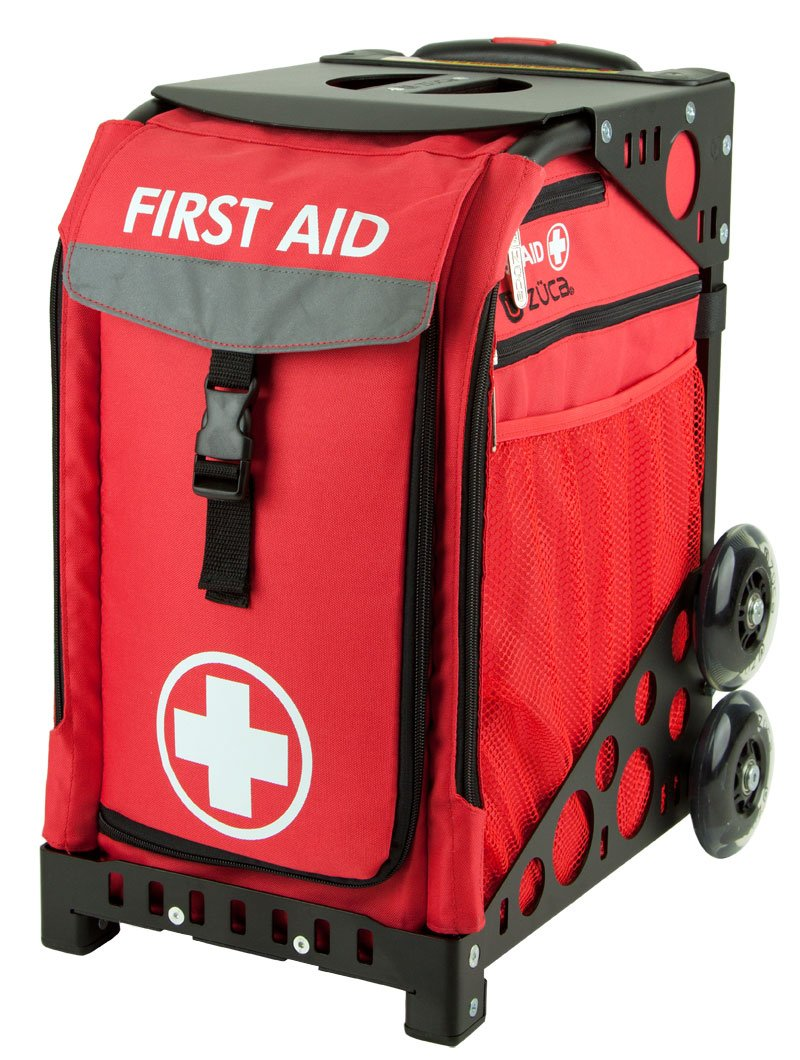 Zuca Sport Insert Bag, First Aid (Red w/White Cross) w/ Sport Frame Black (Non Flashing Wheels)