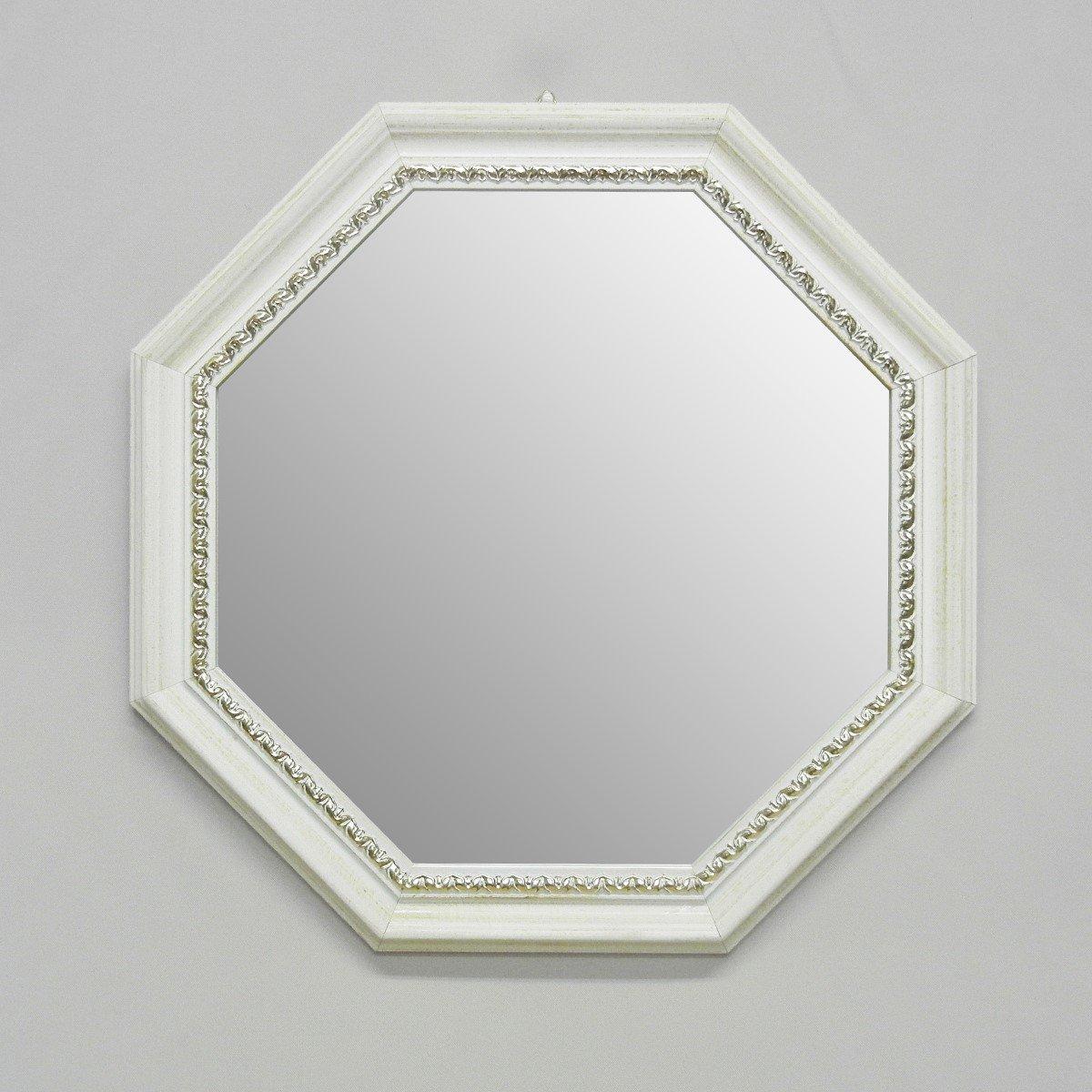 【イタリア製壁掛けミラー】 アンティーク調 八角形アイボリー&ゴールド 37X37cm 21-7742 B07BBB9F73アイボリー&ゴールド 37X37cm