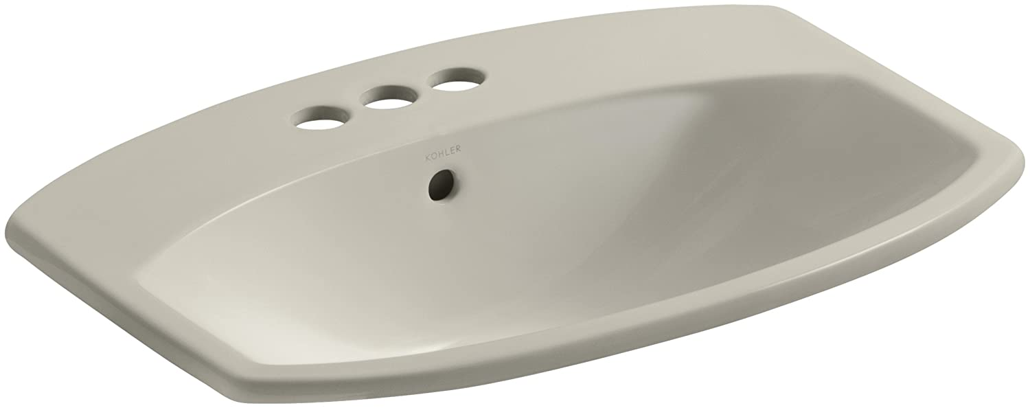 KOHLER K-2351-4-G9 Cimarron Self-Rimming Bathroom Sink, Sandbar