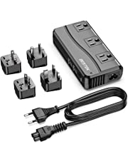 BESTEK Universal Travel Adapter 220V to 110V Voltage Converter 250W with 6A 4-Port USB Charging 3 AC Sockets and EU/UK/AU/US/India Worldwide Plug Adapter (Black)