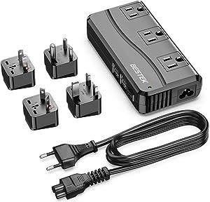 BESTEK Universal Travel Adapter 100-220V to 110V Voltage Converter 250W with 6A 4-Port USB Charging 3 AC Sockets and EU/UK/AU/US/India Worldwide Plug Adapter (Black)