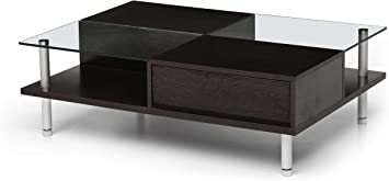 Amazon Com Red Apple Rectangle Glass Coffee Table Modern Side