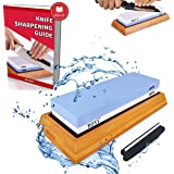ROYI Premium Knife Sharpening Stone Kit, 2 Side 1000/6000 Grit Whetstone, Best Kitchen Blade Sharpener Stone, Non-Slip Bamboo Base And Bonus Angle Guide Included