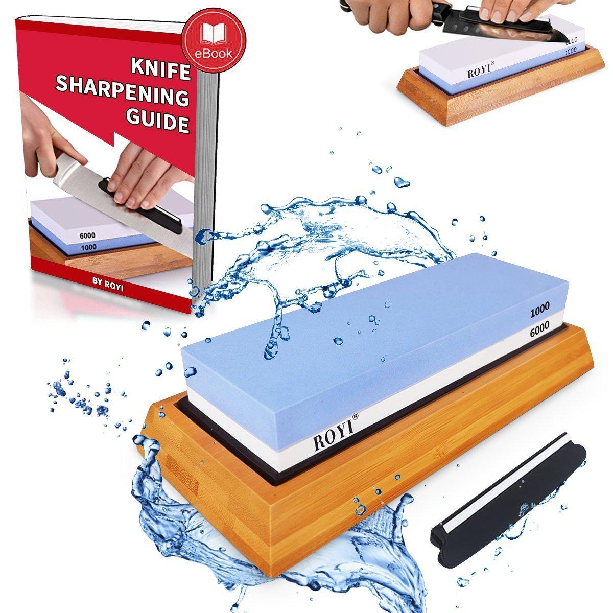 Premium Knife Sharpening Stone Kit 2 Side 1000/6000 Grit Whetstone Best Kitchen Blade Sharpener Stone Non-Slip Bamboo Base and Bonus Angle Guide