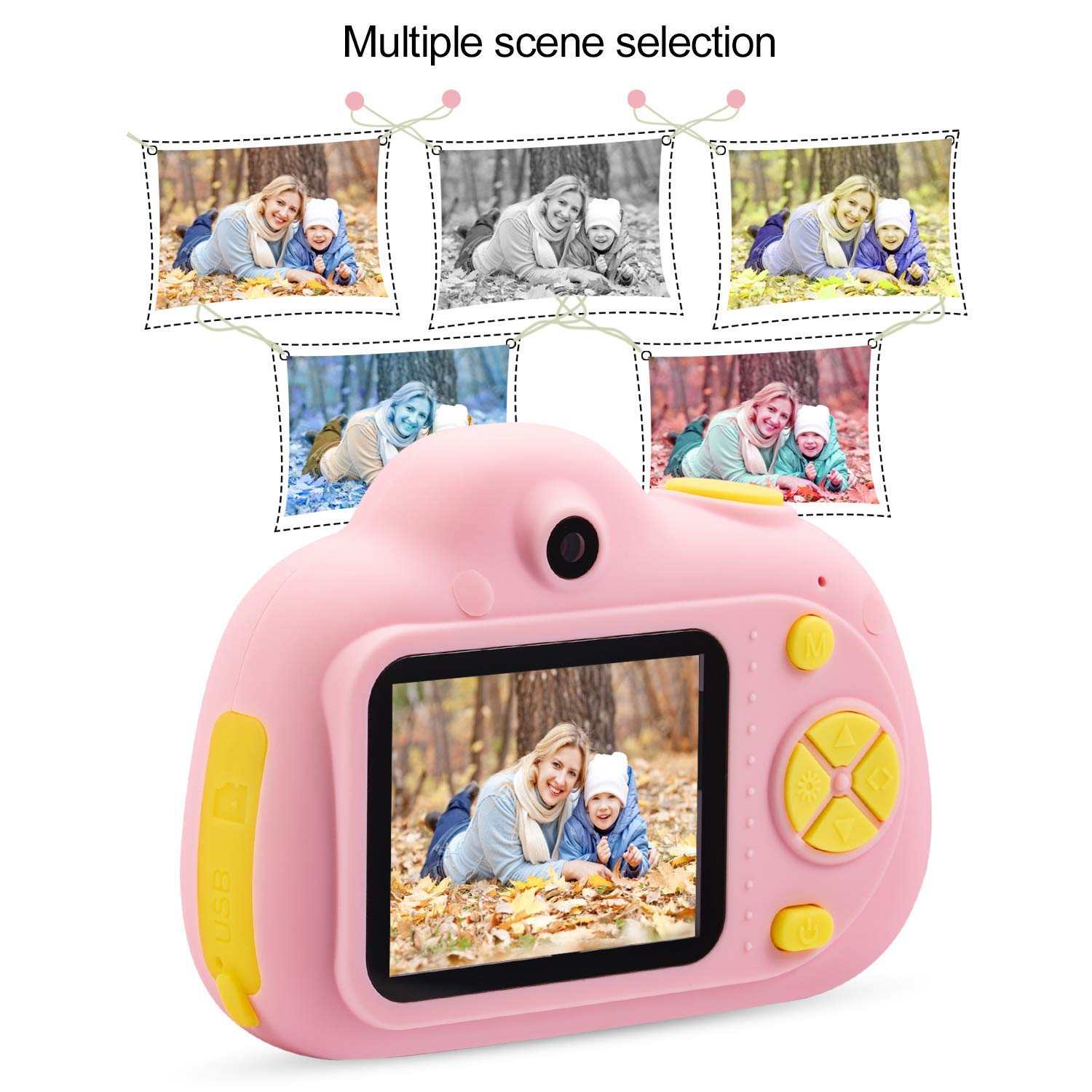 Kids Camera, Dual Cameras 8MP Rechargeable 1080p HD Kids Video Cameras Shockproof Kids Digital Cameras - Best Gift for 4-10 Years Old Girls Boys Party Outdoor Play 16GB TF Card Included (Pink) by Egoelife (Image #5)