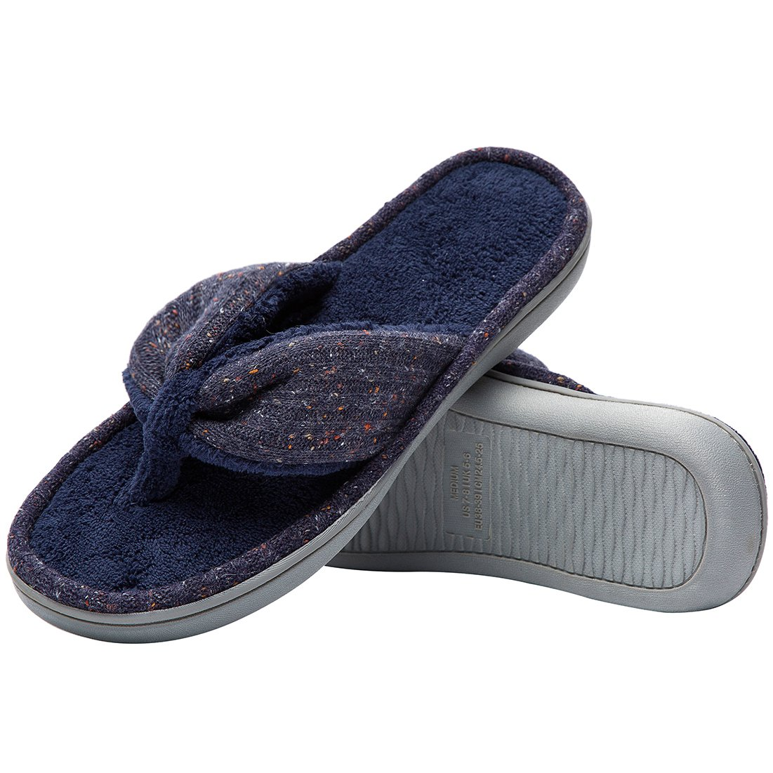 Women's Soft & Comfy Knitted Plush Fleece Lining Memory Foam Spa Thong Flip Flops House Slippers (Large/9-10 B(M) US, Navy Blue) by HomeTop (Image #3)