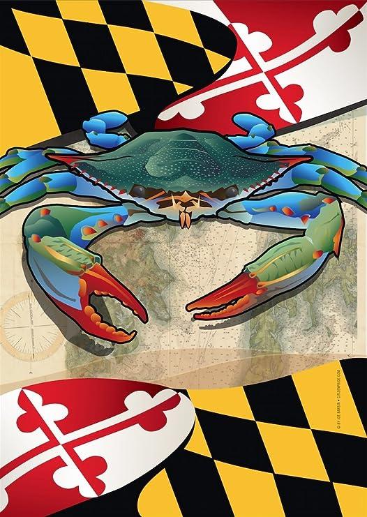Ocean Blue Crab Brilliance Garden Size Flag PR 51925