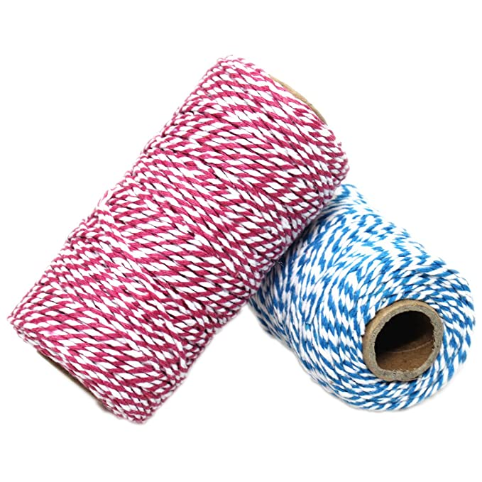 Red and White Twine String,Christmas Twine,656 Feet Cotton Bakers Twine,Packing String,for DIY Crafts /& Gift Wrapping