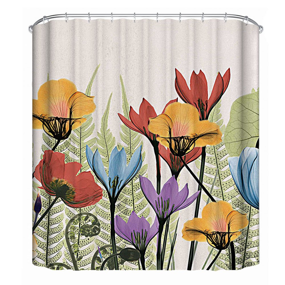 Grace Duet Fabric Shower Curtains Liners Waterproof Stall Shower Curtains for Bathroom,Printing Bath Curtains 72 x 72 inches (Blossom)