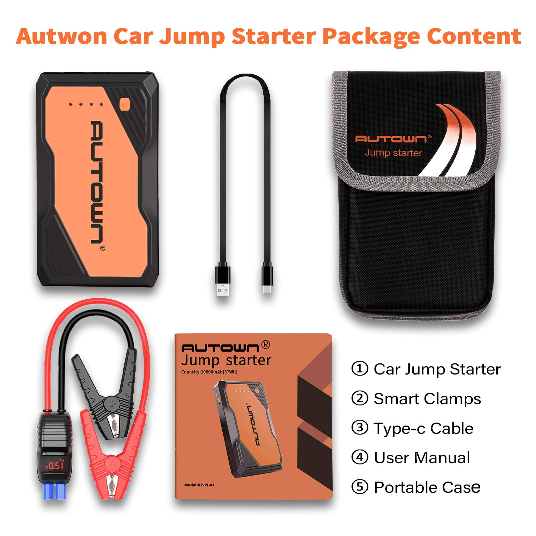 Amazon com: AUTOWN 800A Peak 10000mAh Car Jump Starter with