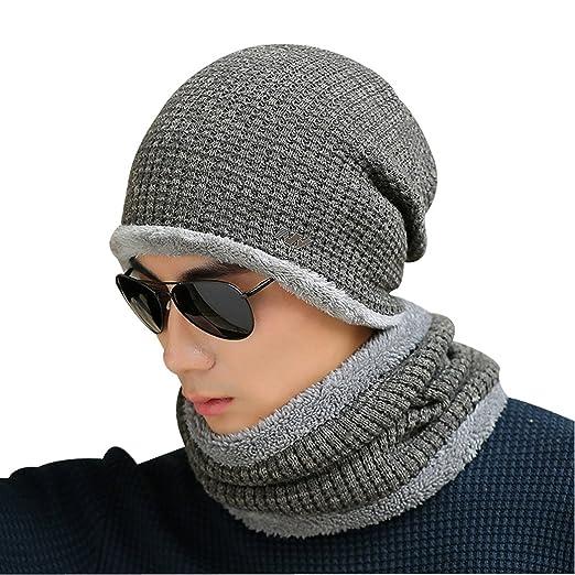 d9451dda006524 Kafeimali Men Beanie Hat Knit Warm Thick Winter Snow Skull Caps Fashion  Scarves (Gary)