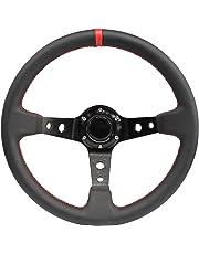 Modauto - Volante Deportivo Universal, Desplazado, de Piel Sintética, Diámetro 350mm, Modelo G016, Color Negro y Costura Roja
