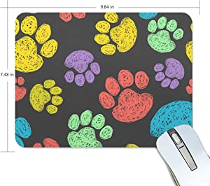 BlueViper Cute Colorful Doodle Paw Prints Mouse Pad Smooth Surface Gaming Pad Thick Non-Slip Rubber Base Colorful Cute Design Art Artist Painting Unique Novelty Gift for School Office Game