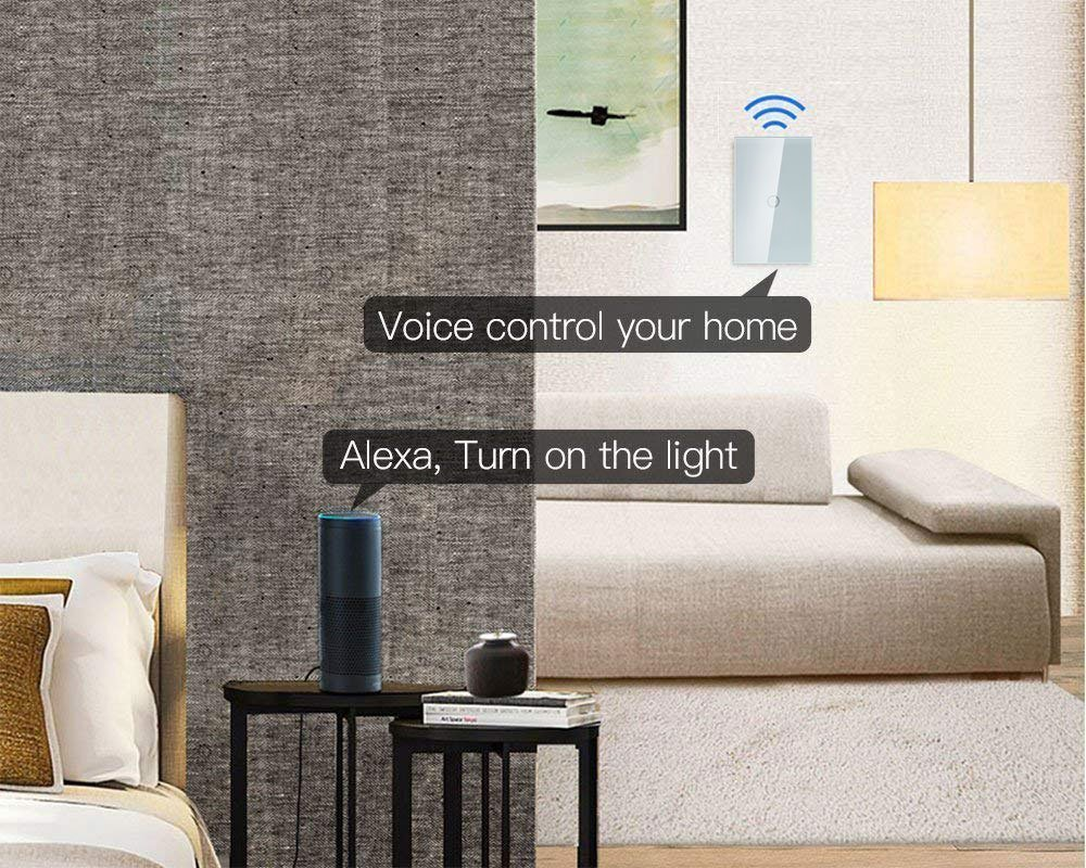 Smart Wifi Light Switches Touch Wall Switch Panel Replace 3 Singlethrow Circuit Controlling A Ceiling Fan And In 1 Gang Box Combination Compatible With Alexa Smartphone App Control