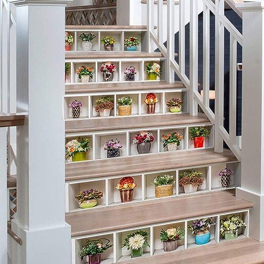 Plantas Verdes en macetas 3D Pegatinas de Escalera Impermeable Autoadhesivo Pegatina de Pared Vinilo Adhesivo Decorativo para Cuartos, Dormitorio,Cocina, 6Pcs: Amazon.es: Hogar